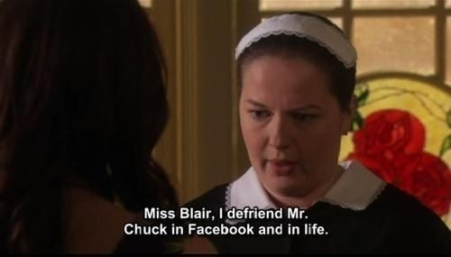 """Dorota tells Blair she de-friended Chuck """"in Facebook and in life"""""""