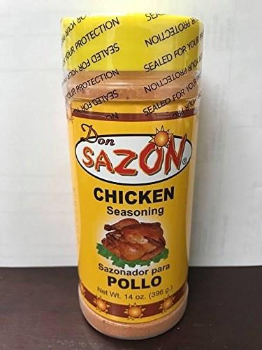 A bottle of Don Sazon Chicken Seasoning.
