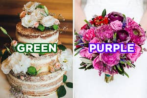 "On the left, a naked wedding cake topped with flowers with ""green"" typed on top of it, and on the right, a bride holds a bouquet of flowers with ""purple"" typed on top of it"
