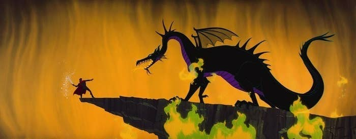 Prince Phillip fighting Maleficent in dragon form