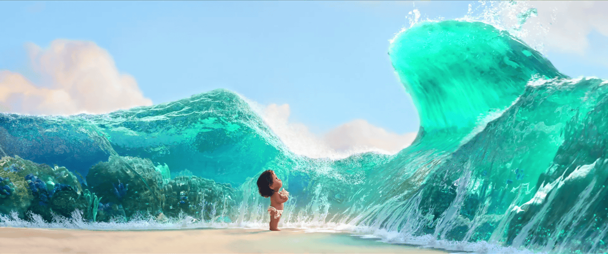 The ocean opening up so baby Moana can collect shells
