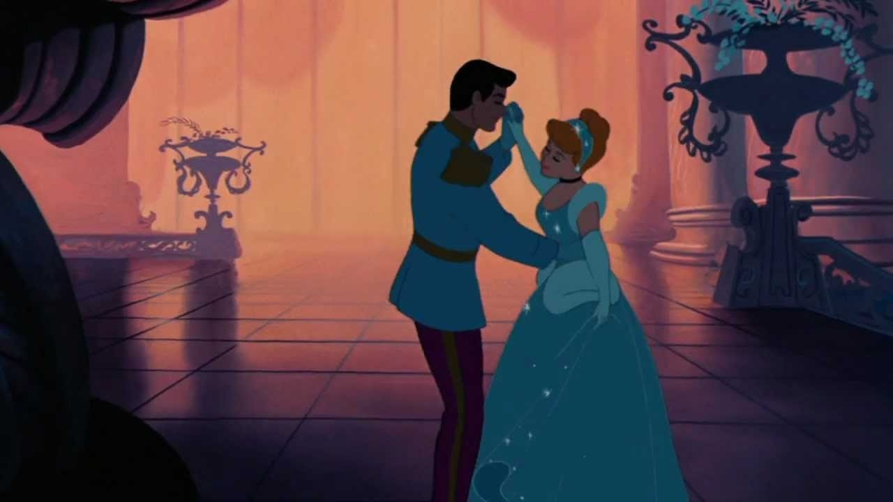 Cinderella dancing with the prince during the ball