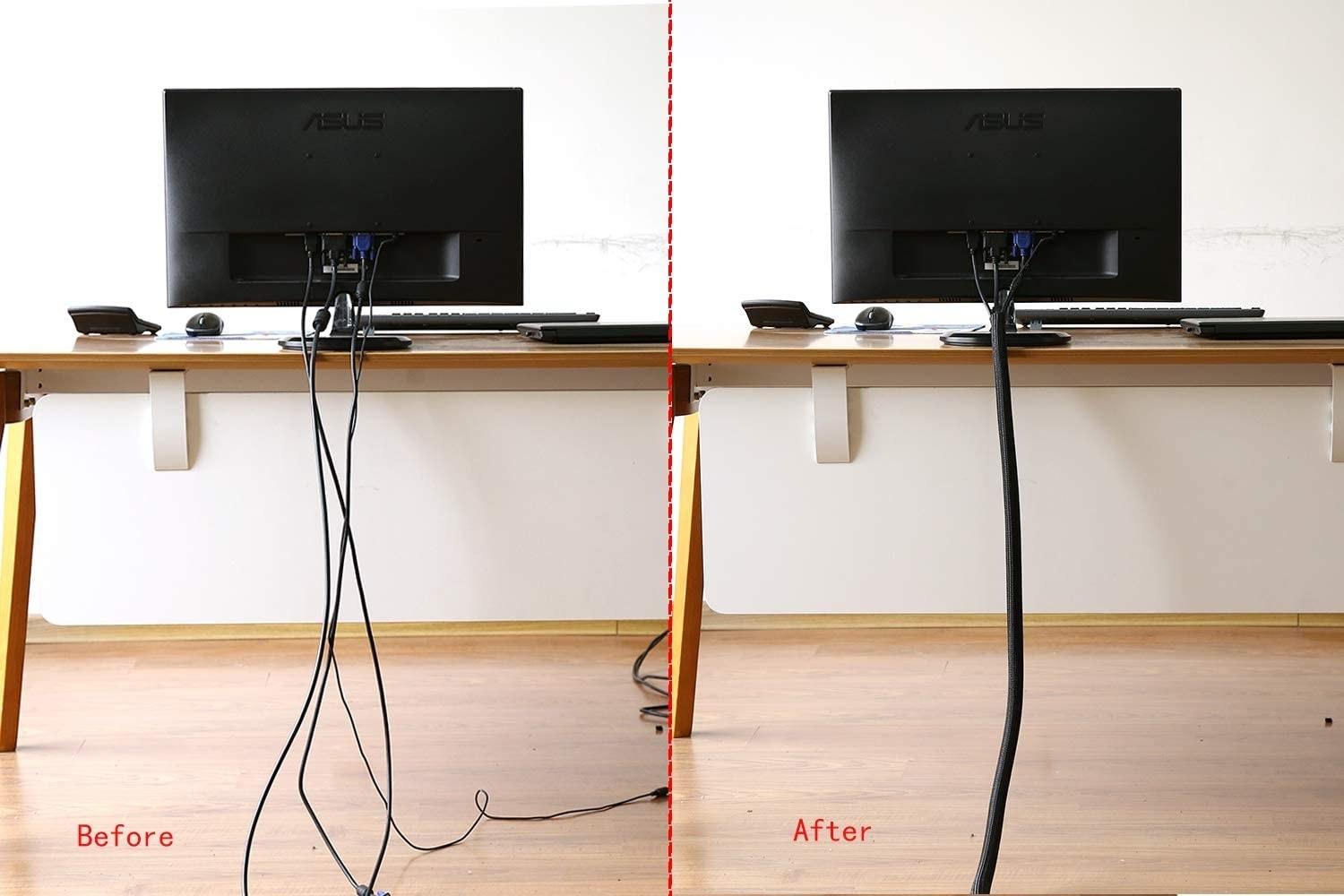 A before and after comparison of tangled cords and cords inside the cord tube