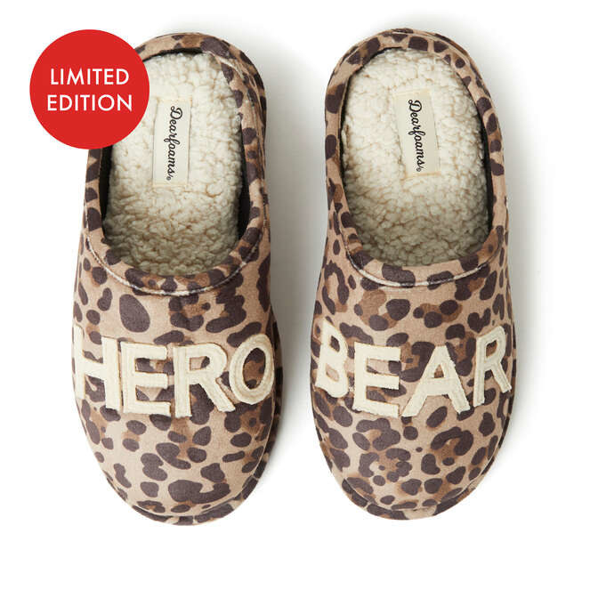 "two close toe slippers in leopard print with ""HERO"" on one shoe and ""BEAR"" on the other"