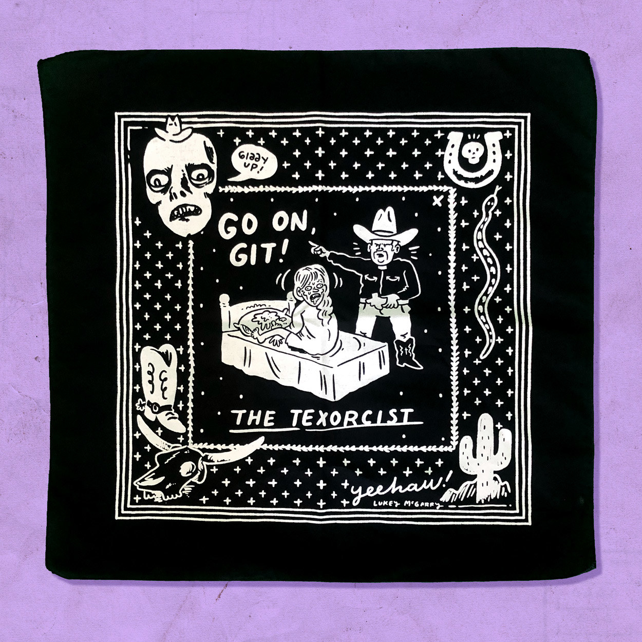"square black bandana with a cartoon on it of the Exorcist scene from the movie with the little girl's head spinning around and a cowboy saying ""Go on Git"""