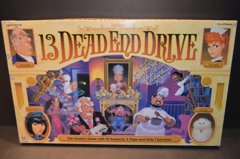 The box for the board game 13 Dead End Drive, which features cartoon drawings of the game characters