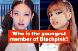 Pictures of Jennie and Lisa with the question who is the youngest member of Blackpink