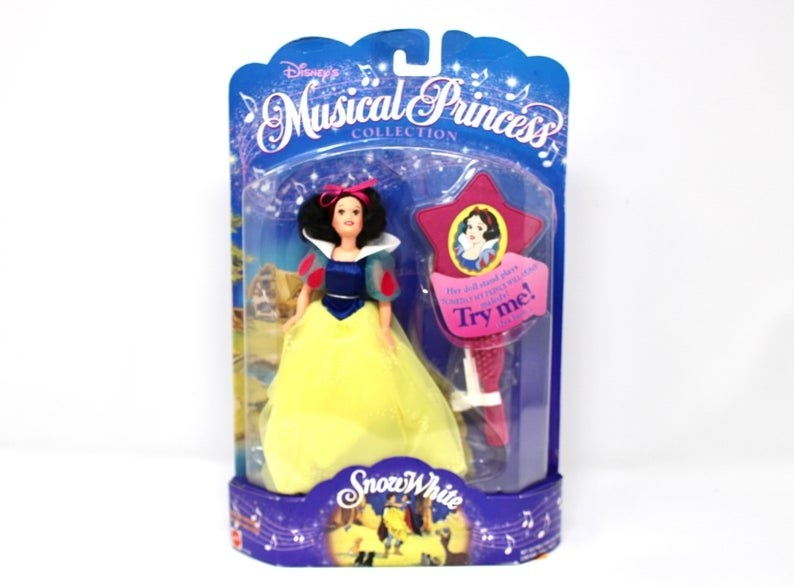 A Snow White doll from Disney's Musical Princess doll line in a blue box