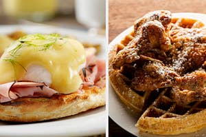 An image with eggs Benedict on one side and chicken and waffles on the other