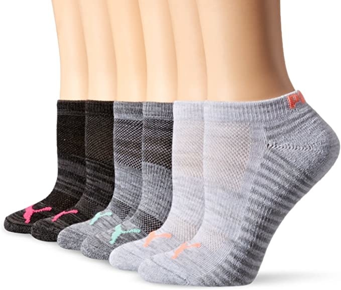 row of ankle socks in varying colors with mesh panels visible