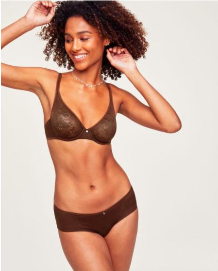 person wearing brown bra and panties