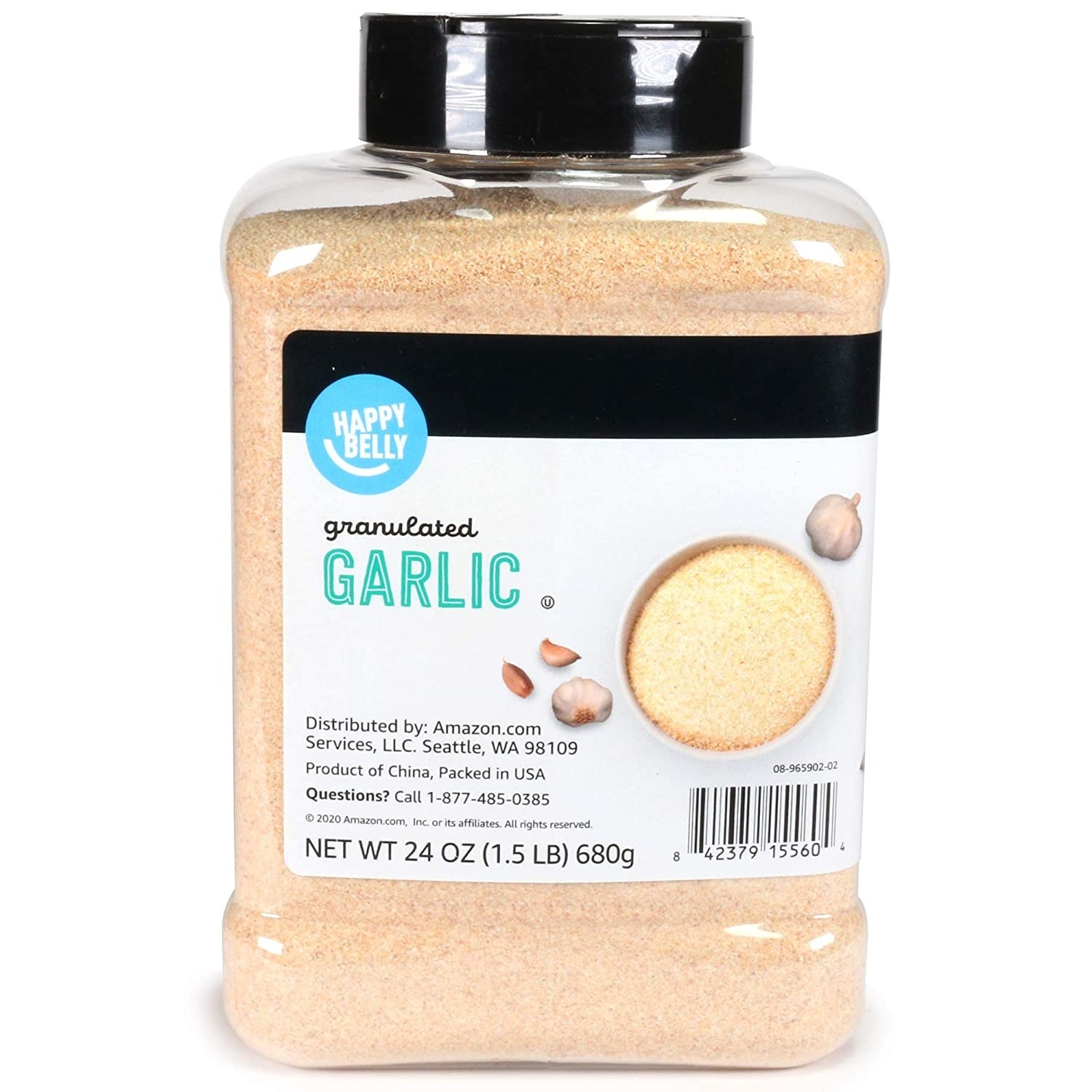 A large container of Happy Belly Granulated Garlic.