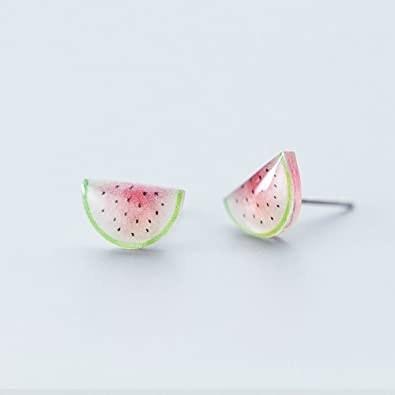 watermelon slice style stud earrings