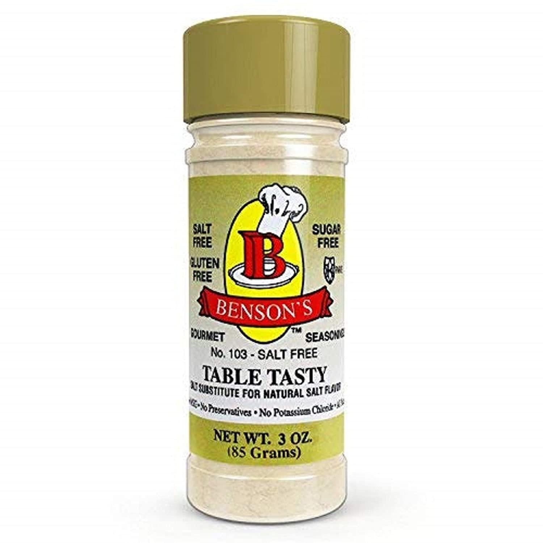 A bottle of Benson's Table Tasty Salt Substitute.