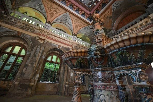 Romanian bath house and spa with detailed  colourful tiles, ornate details