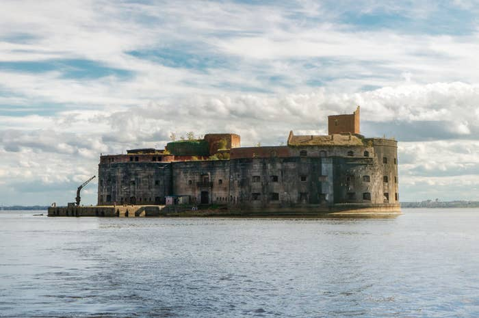 Russian sea fort in the middle of the water, run down and disused