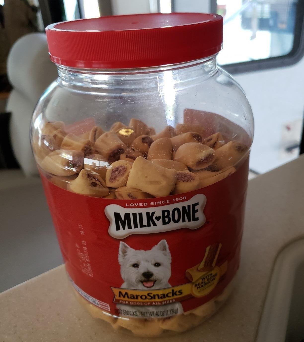 reviewer photo of the Milk Bone jar