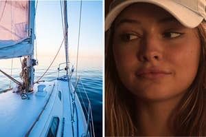 A white yacht floats under a sunset while Sarah looks in its direction