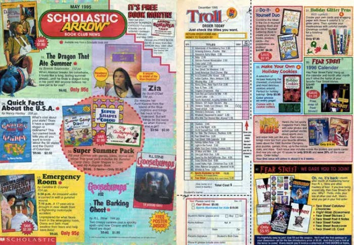 A side-by-side of Scholastic or Troll book order from May 1995.