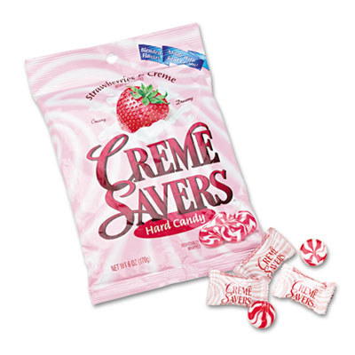 A photo of a pink bag of strawberry Creme Savers hard candy.