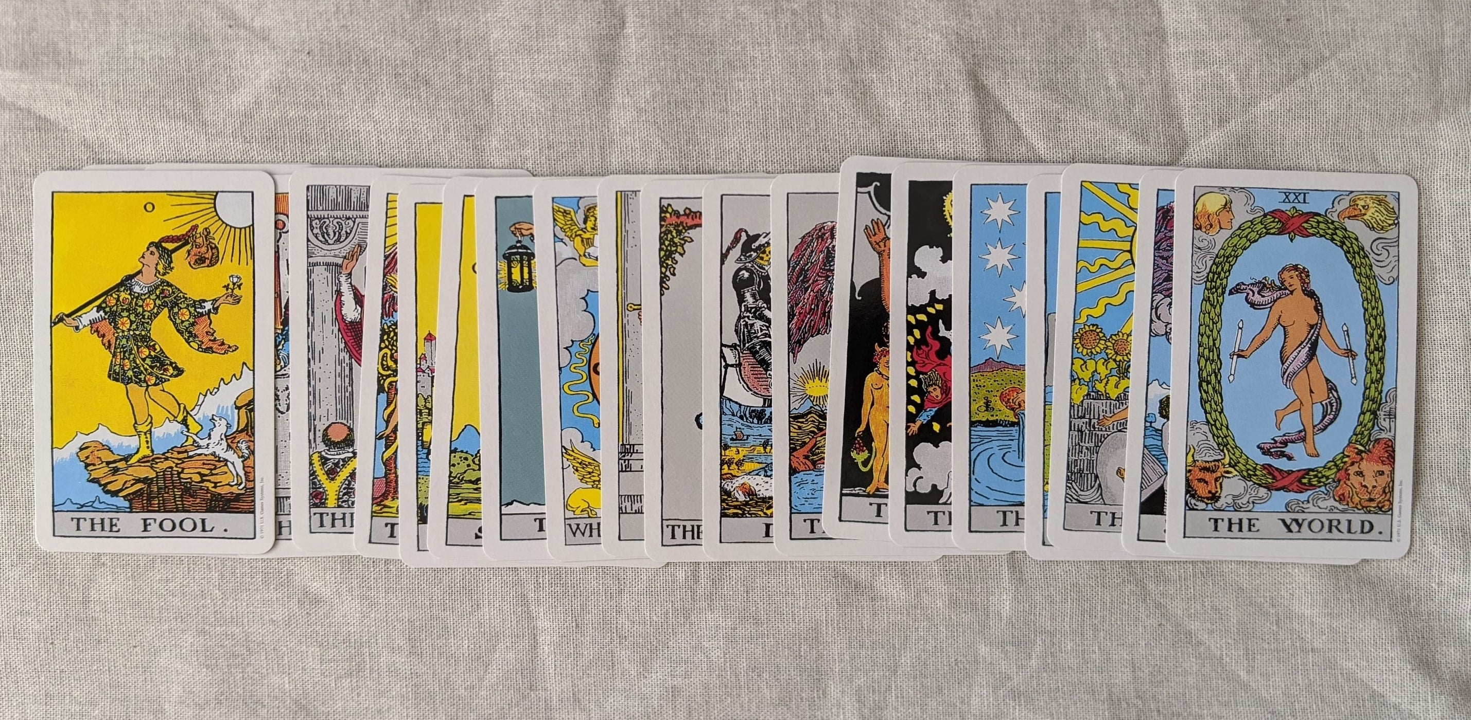 The Major Arcana of the Rider-Waite deck lay face up in order from the fool to the world cards
