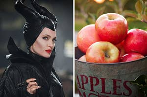 Angelina Jolie dressed as Maleficent with a bucket of apples on the right