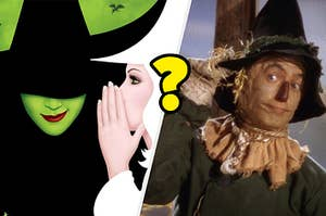 Wicked poster with Glinda whispering to the Elphaba with Ray Bolger as the Scarecrow on the right