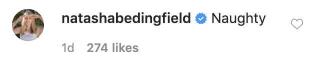 "Natasha Bedingfield writes ""Naughty"" in the comments"