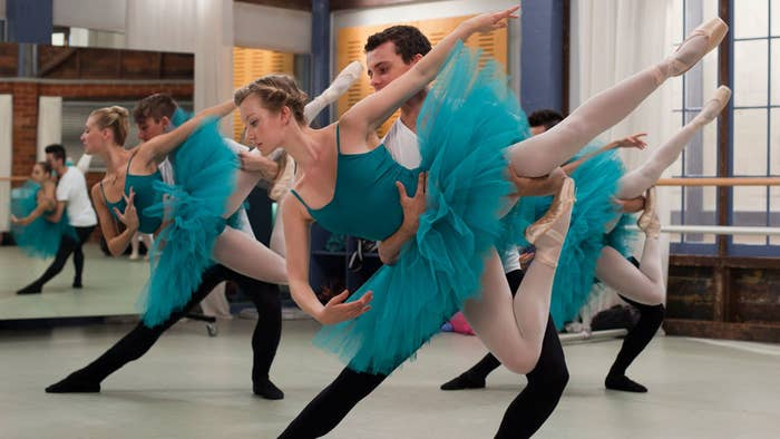 A photo from one of the Dance Academy studios, with students practising a ballet sequence