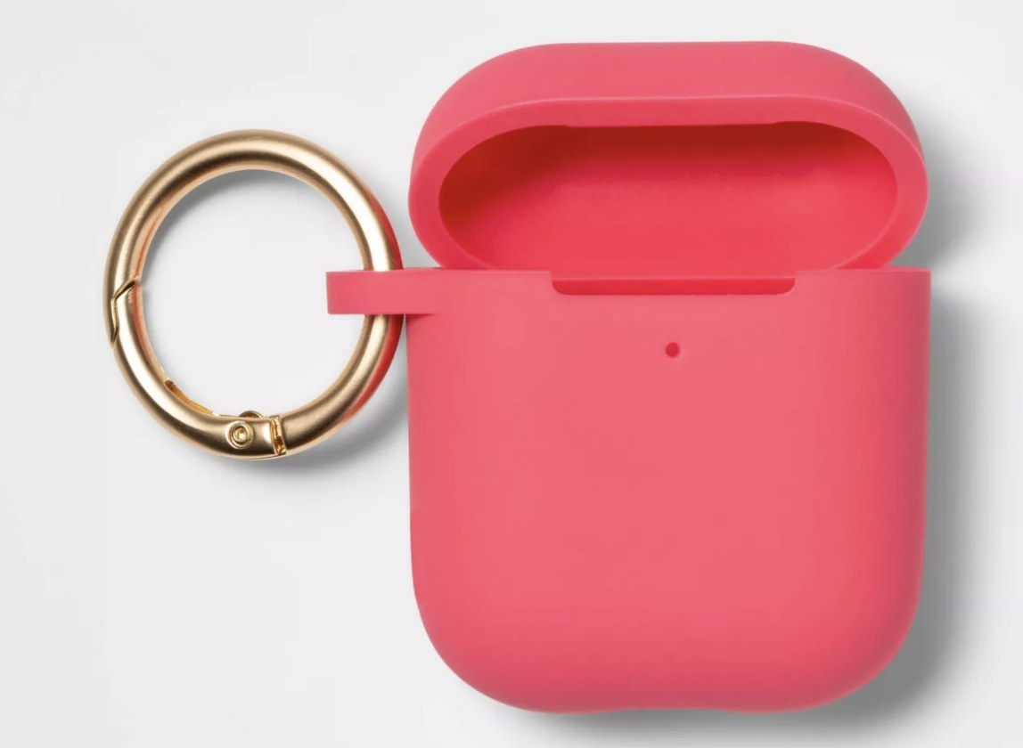 A hot pink AirPods case