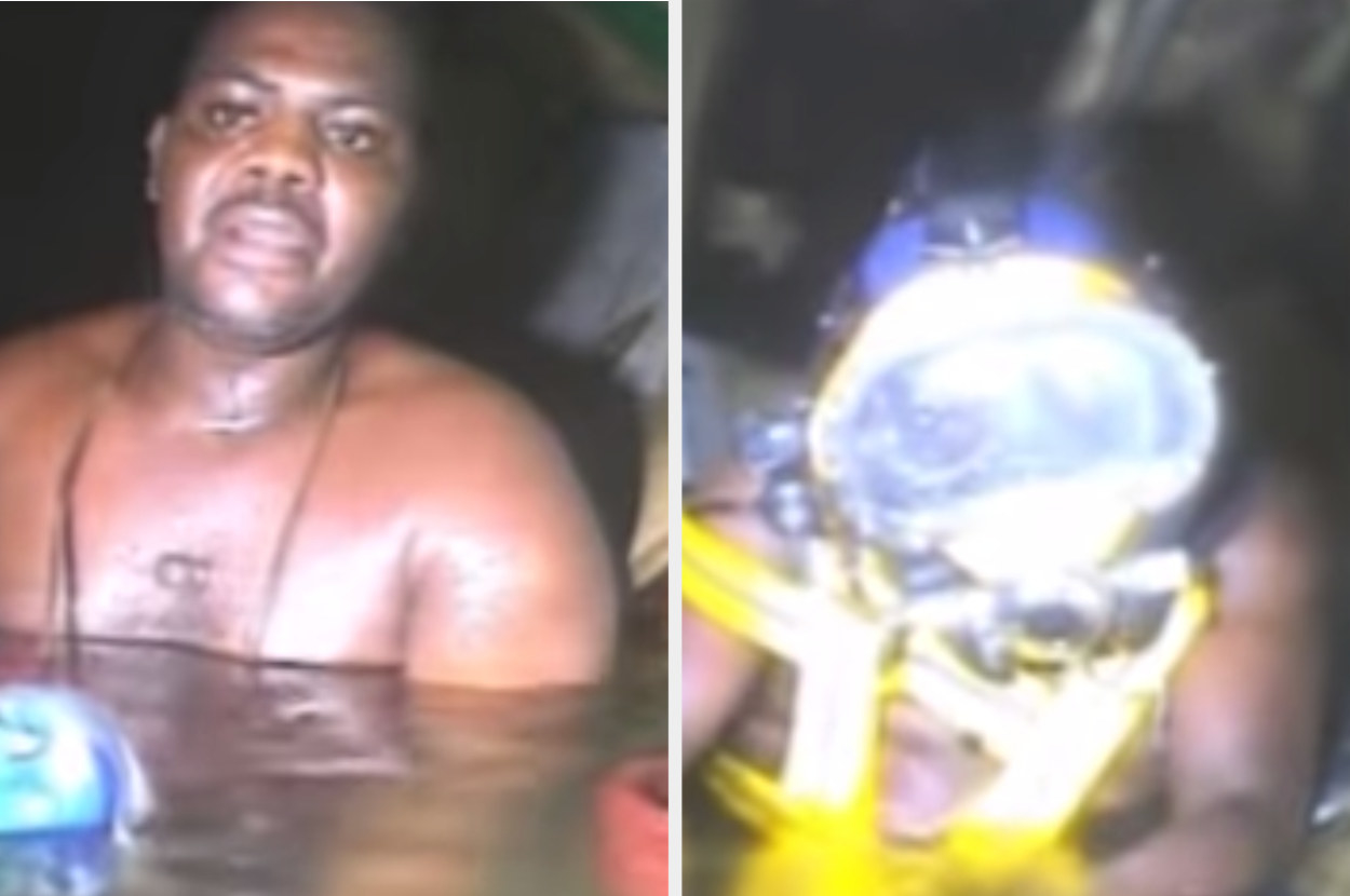 Man looking scared, up to nearly his shoulders in water.