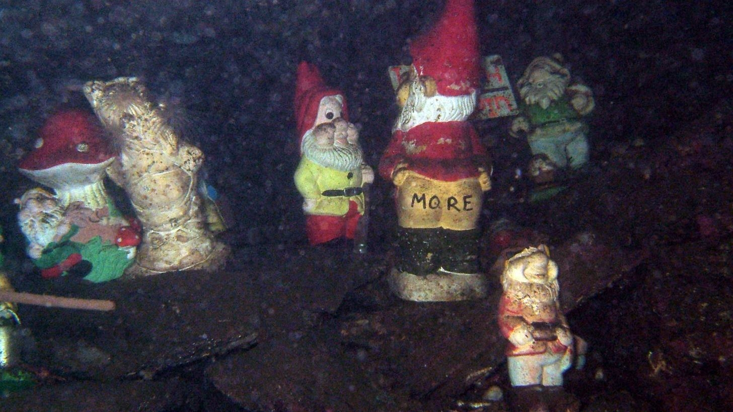 A bunch of gnomes underwater.