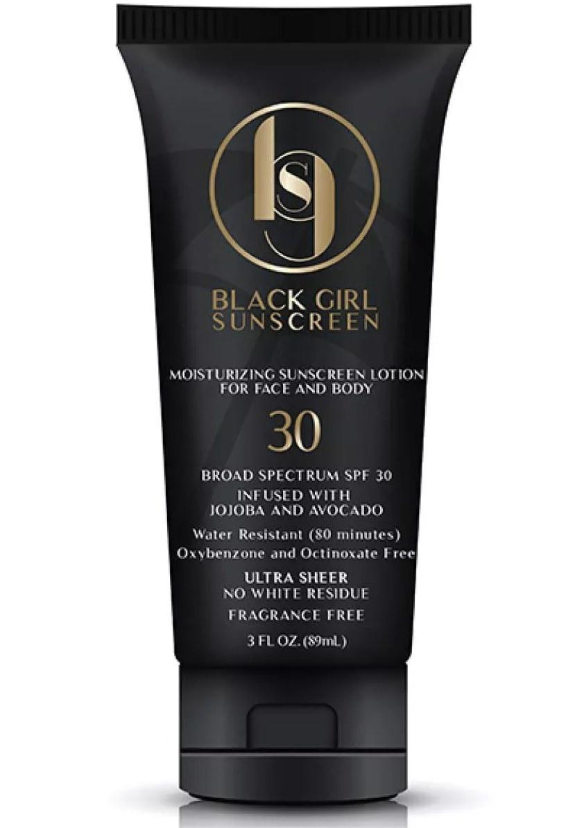 A bottle of Black Girl Sunscreen