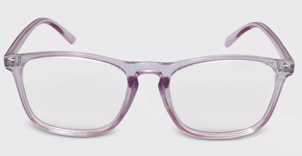 A pair of bluelight glasses with clear frames
