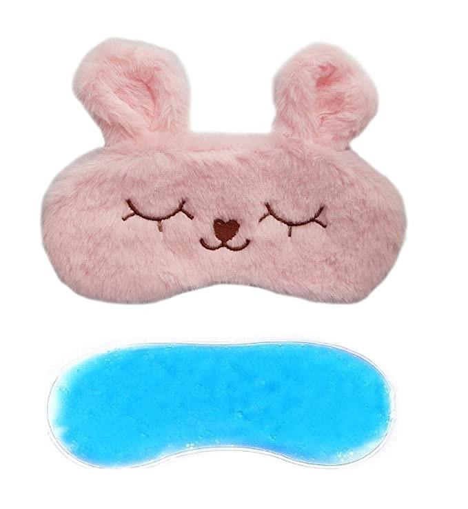 Pink fuzzy eye mask with ears.
