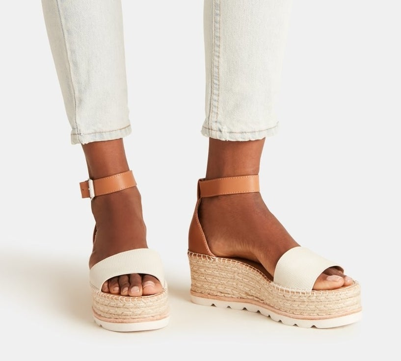 model wearing espadrille sandals