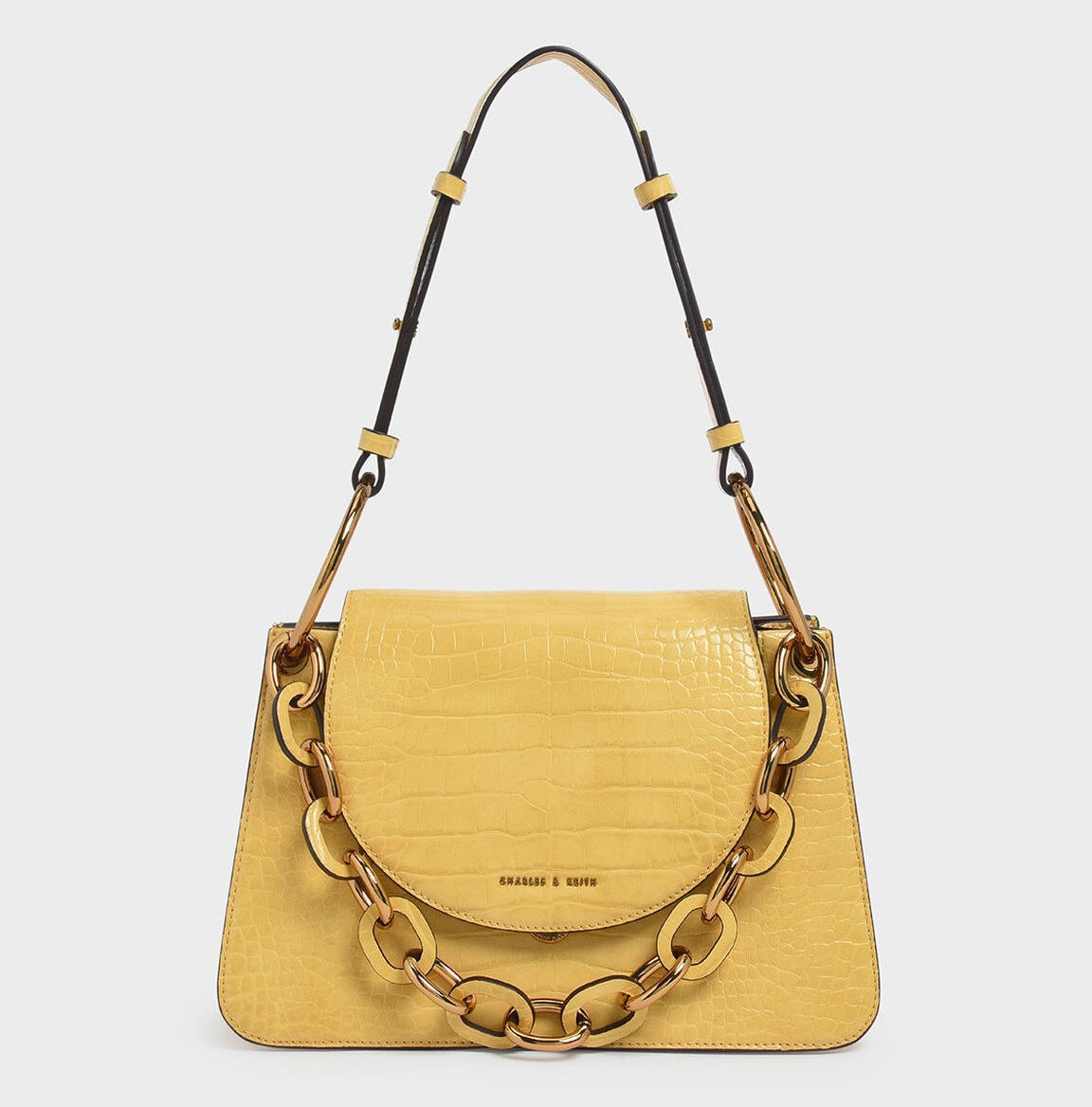 yellow croc-effect shoulder bag