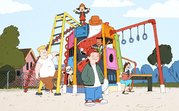The kids of the Disney Channel show Recess standing on a play set during recess