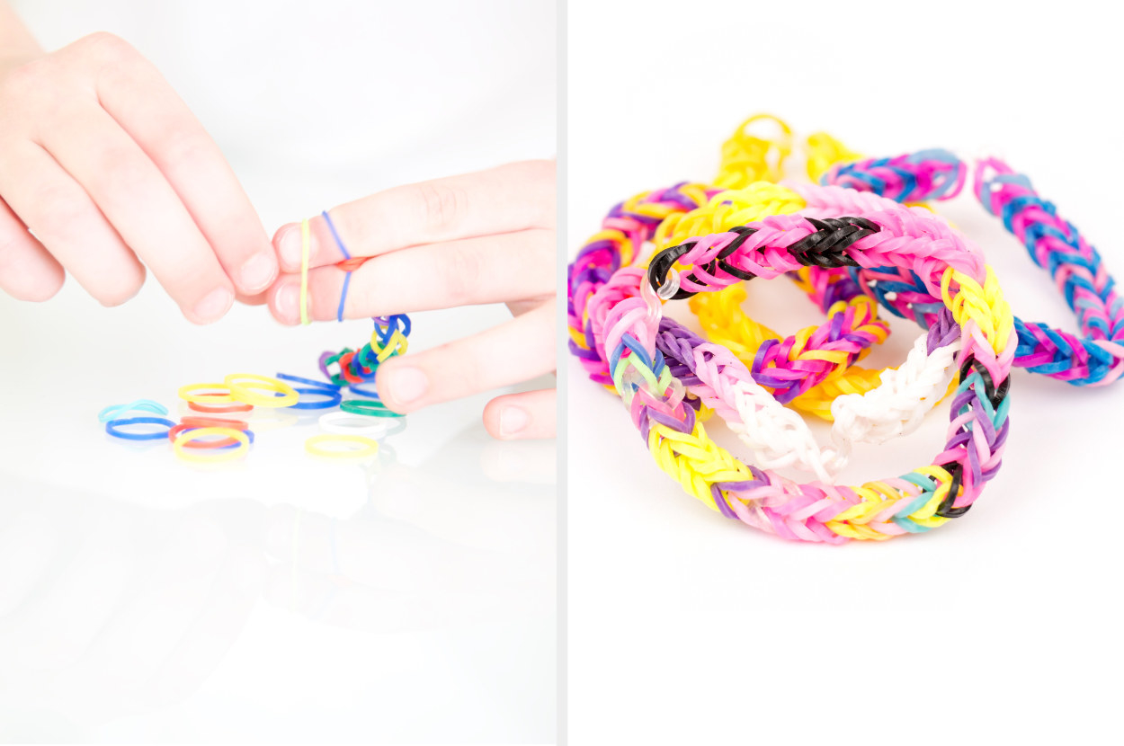 Someone making a boondoggle bracelet