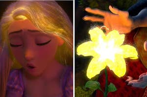 Rapunzel singing with glowing hair next to a glowing flower