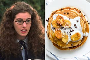 "Mia Thermopolis from ""The Princess Diaries"" and some pancakes covered in fruit, whipped cream, and chocolate chips"