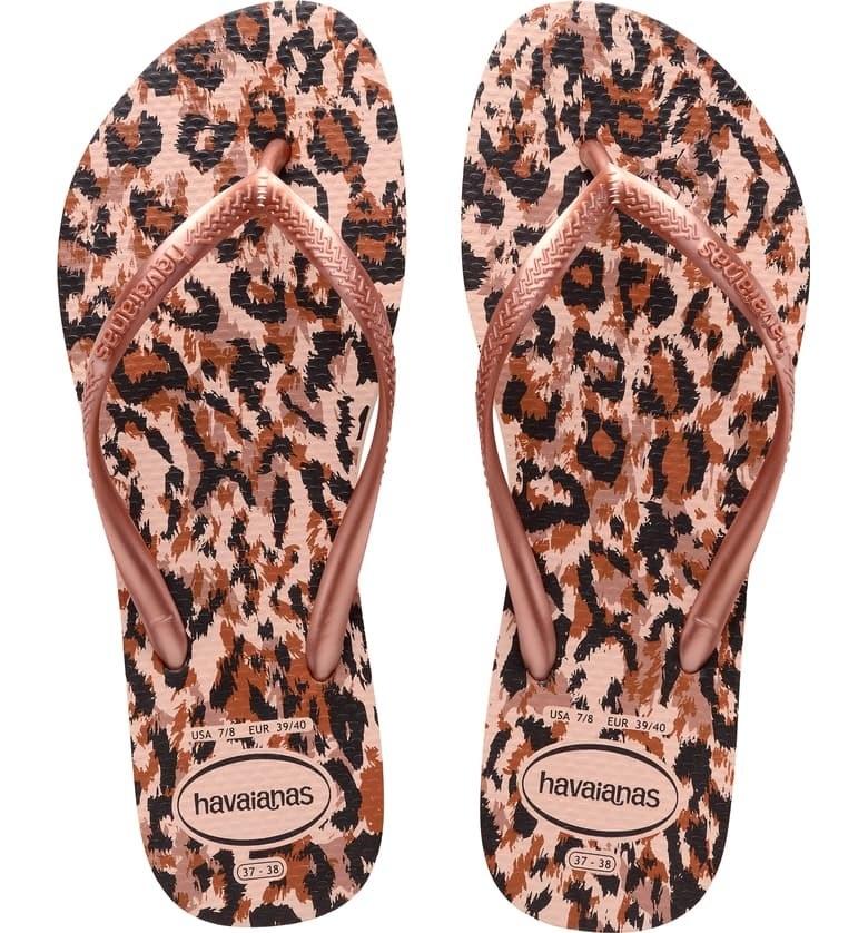 Havaianas slim animal print flip flop in pink leopard colorway