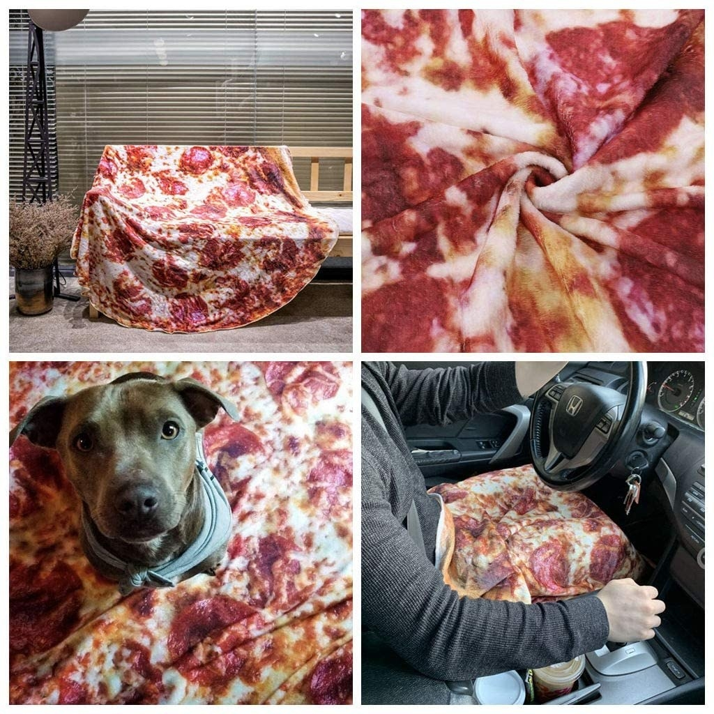 A blanket that looks like a pizza is on a bench, has a dog on it, and is on a persons lap while driving