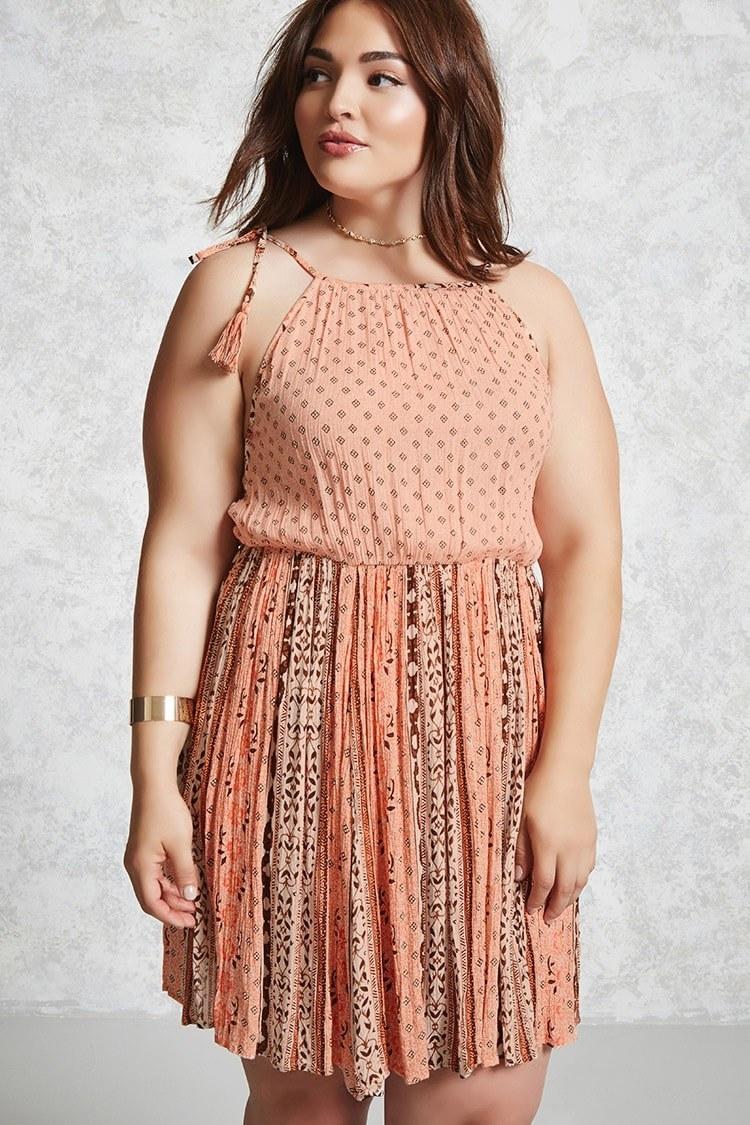 model wearing woven cami dress