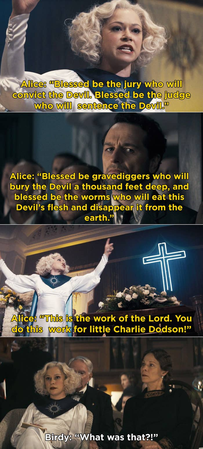 Sister Alice giving a passionate sermon pleading with the jury, judge, and gravediggers to persecute the devil that killed Charlie Dodson