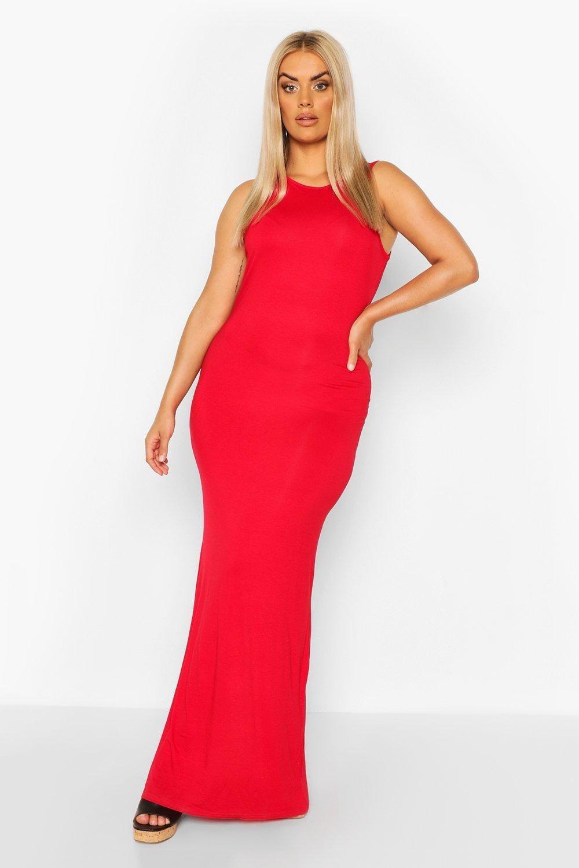 model wearing red maxi dress