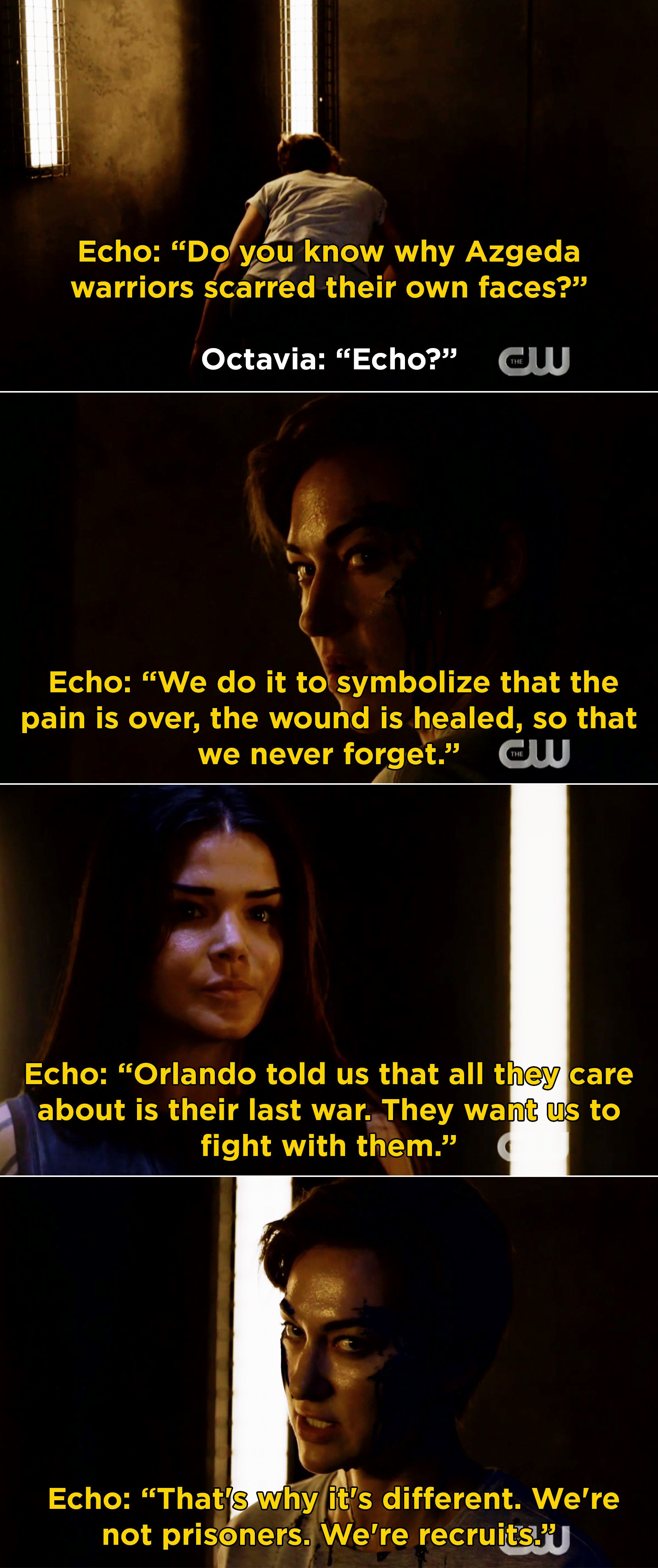"""Echo revealing to Octavia that she cut her own face to symbolize that the """"pain is over"""" and Echo realizing that they aren't prisoners on Bardo, but recruits for the last war"""