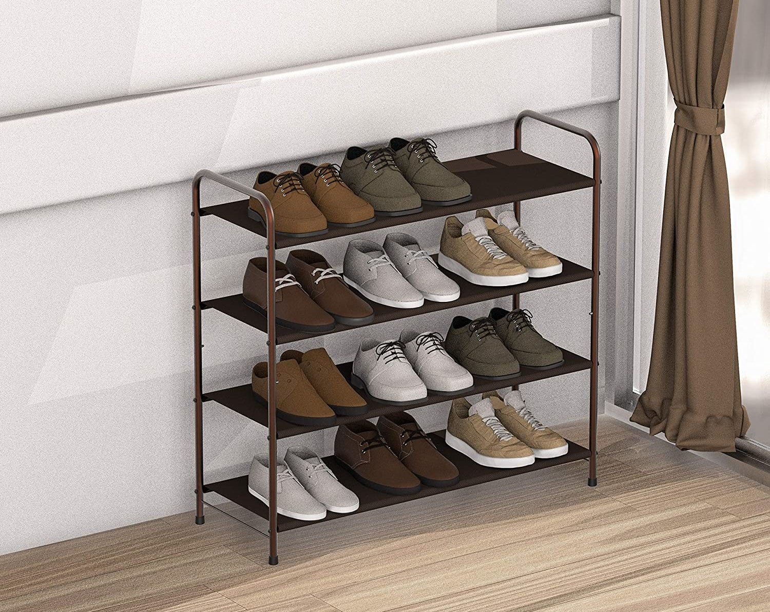 A four-tier rack with 12 pairs of shoes on it
