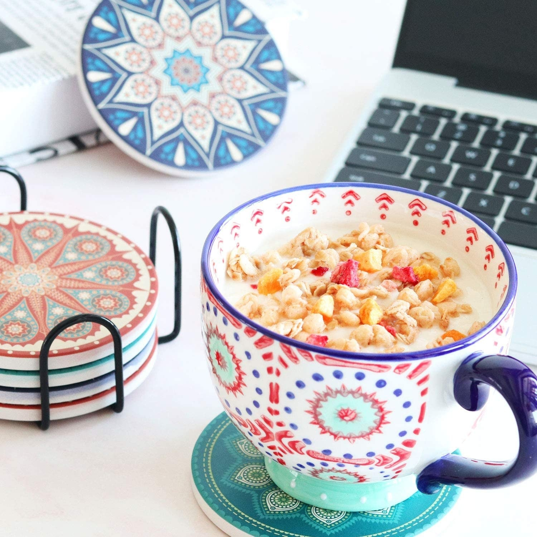 The coasters, featuring colorful mandala designs