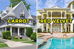 "On the left, a Victorian-style home with a wraparound porch on the corner on the street and ""carrot"" typed on top of it, and on the right, large mansion with a pool in the backyard and ""red velvet"" typed on top of it"